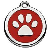 Tiermarke mit Gravur mit Pfoten-Motiv rot | Hundemarke mit Name, inkl. Schlüsselring, aus Aluminium...
