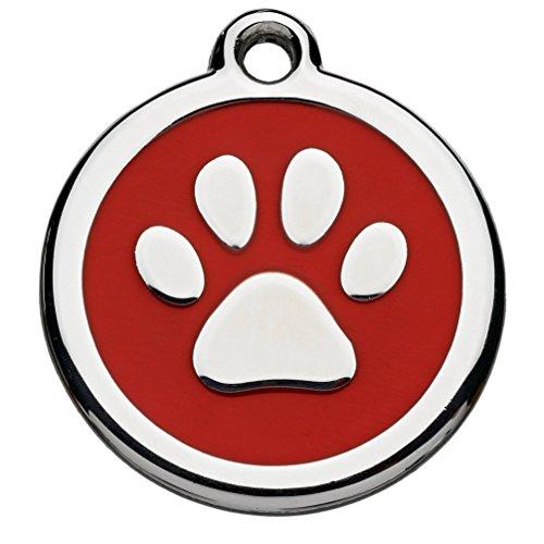 Tiermarke mit Gravur mit Pfoten-Motiv rot | Hundemarke mit Name, inkl. Schlüsselring, aus Aluminium | Adressanhänger für Hund und Katze