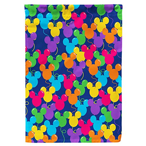 Regenboog Regels Tuin Vlag - Mickey Oren Ballonnen Disney Geïnspireerd Small Garden Flag 12x18in Blauw