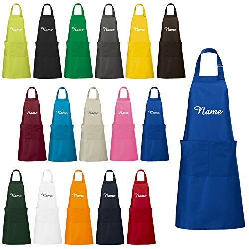 Schnoschi Küchenschürze Blau mit Wunschnamen Bestickt