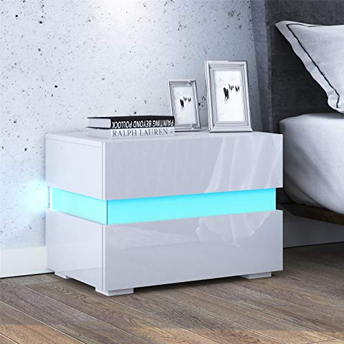 UNDRANDED 2 Schubladen Nachttisch mit Hochglänzendem RGB LED Streifen Moderne Nachtschrank für Schlafzimmer Wohnzimmer 60 x 39 x 45cm (Weiß)