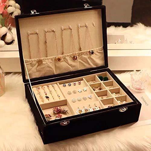 Caja de almacenamiento de joyero de gran capacidad con anillo de bloqueo pendientes de collar a prueba de polvo-negro