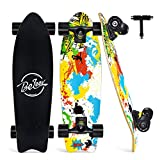 BELEEV Cruiser Skateboard for Beginners, 27'x8' Complete Skateboard for Kids Teens Adults, 7-Ply Canadian Maple Double Kick Deck Concave Trick Skateboard (Yellow)