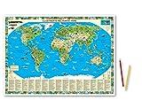 Illustrierte Weltkarte Tiere: Erlebniskarte Schreibunterlage