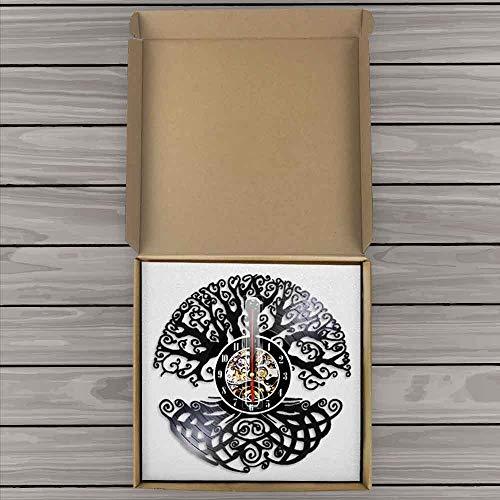 WAGUZA Baum des Lebens Wandkunst Wanduhr Heiliger Baum Vintage Vinyl Schallplatte Longplay Uhr Green Life 3D Silhouette Schatten Wanduhr