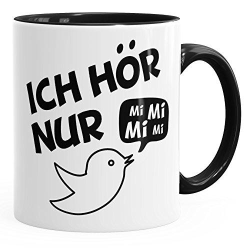 MoonWorks Kaffe-Tasse Spruch Ich hör nur Mi Mi Mi MiMiMi Geschenk Büro Kollege Kollegin Chef Innenfarbe schwarz Unisize