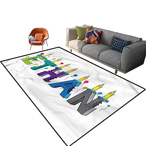 Indoor Room Ethan Area Rugs,5'x 7',Festive Candles Balloon Floor Rectangle Rug with Non Slip Backing for Entryway Living Room Bedroom Kids Nursery Sofa Home Decor