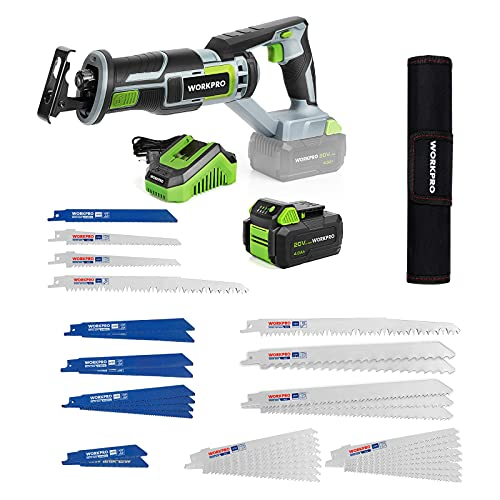 WORKPRO Cordless Reciprocating Saw, 20V 4.0Ah Battery, 1-inch Stroke Length, 4 Saw Blades Included+ WORKPRO 32-piece Reciprocating Saw Blade Set - Metal/Woodcutting Saw Blades, Pruner Saw Blades