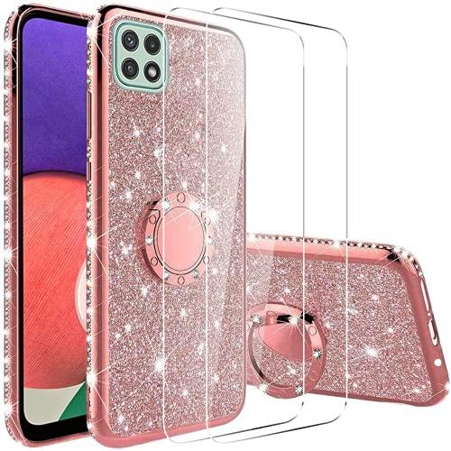 Vansdon Cover Compatibile con Samsung Galaxy A22 5G+[2* Pellicola Protettiva in Vetro Temperato], Copertura Protettiva con Diamante Glitterato con Anello a 360 Gradi - Oro Rosa
