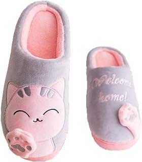 MoGist Zapatillas de algodón Zapatos Acolchados de algodón Chanclas Gato de Dibujos Animados Gato Fortu Luc Zapatillas de algodón Estilo Gato Un par de Colores Gris Material Algodón y Tela Tamaño 38