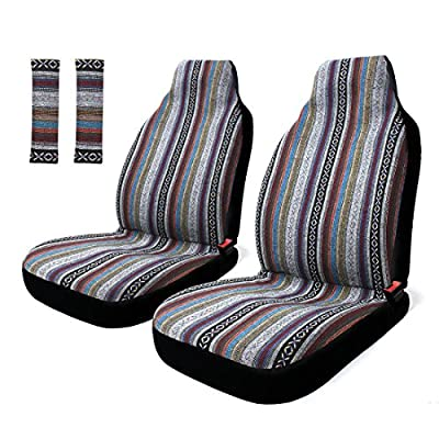 Copap 4pc Front Pair Seat Covers Baja Bucket Seat Cover Universal Stripe Colorful Saddle Blanket with Seat-Belt Pad Protectors for Car, SUV & Truck