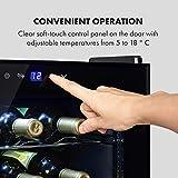 Klarstein Shiraz Uno - Weinkühlschrank, Temperaturen: 5-18 °C, 42 dB, Soft-Touch-Bedienfeld, 6 Regaleinschübe, Platz für 28 Flaschen Wein, Volumen: 74 Liter, schwarz - 5