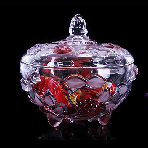 JANRON glasgodis skål med klara glasförvaringsburkar glaslåda med lock transparent mellanmål idealisk dekorativ present för familj bröllop jul – 16 x 16 cm