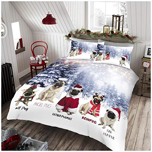 Gaveno Cavailia Easy Care Angel Pug Xmas Duvet Cover, Luxury Super Soft & Cosy Christmas Quilt Set Bedding, King Size, Multi
