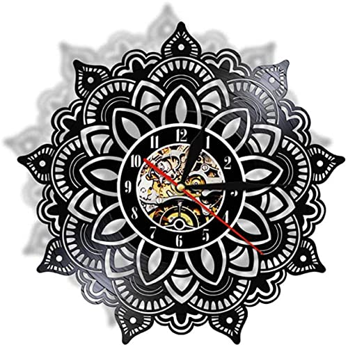 Mandala - Reloj de pared de vinilo silencioso para dormitorio indio, diseño de mandala