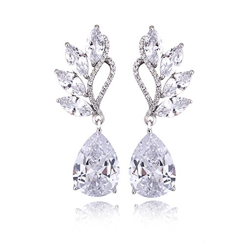 Women's Cubic Zirconia Bridal Earrings - Sterling Silver Teardrop Floral Leaf CZ Cluster Earring Crystal Rhinestone Wedding Earrings for Bride Bridesmaids Mother of Bride Pageant Party Prom by AMYJANE