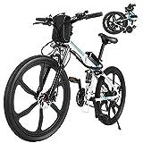 """ANCHEER 26"""" Bicicletta elettrica pieghevole Mountain bike Sedile regolabile Bicicletta elettrica Batteria al litio 36V / 8AH Sistema di trasmissione a 21 velocità Carico massimo: 120 kg (Bianco)"""