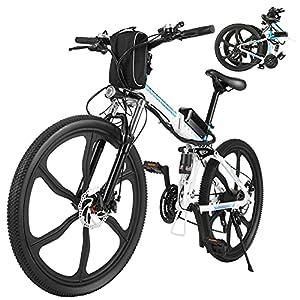 """51CpYr9RhFS. SS300 ANCHEER 26"""" Bicicletta elettrica pieghevole Mountain bike Sedile regolabile Bicicletta elettrica Batteria al litio 36V / 8AH Sistema di trasmissione a 21 velocità Carico massimo: 120 kg (Bianco)"""