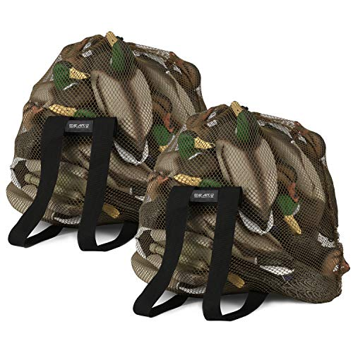GearOZ Mesh Decoy Bag 2-Pack Duck Decoy Bag for Goose Turkey Waterfowl, Duck Hunting Gear Decoy Backpack Light Weight Blind Bag with Adjustable Shoulder Straps