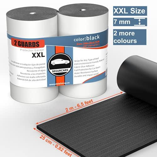 SEGURCARS XXL Protector pared y columnas de garaje, parking para las puertas del coche paragolpes parachoques 3 colores (NEGRO)