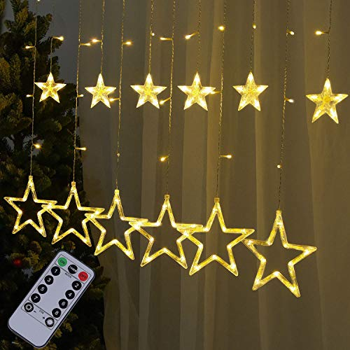 amadecohome Star Curtain Lights, Christmas Decorations with Remote and Timer, 12 Stars 138 LED 8 Modes Fairy String Lights for Wedding,Party,Patio Lawn,Home Decor (Warm White)