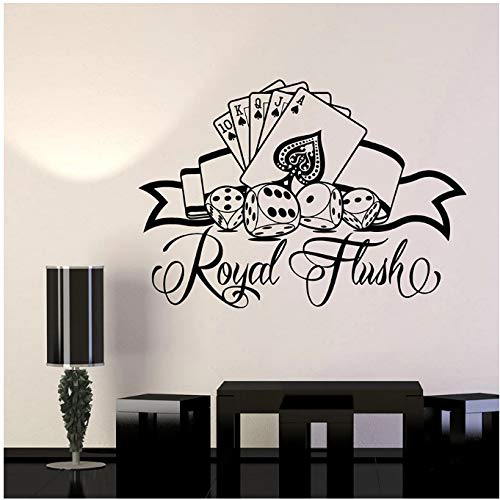 aobobaihuo Wall Decal Cards Poker Dice Games Of Chance Vinyl Window Stickers Play Club Interior Decor Art Mural Removable 30 * 42Cm