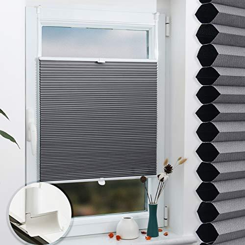 Grandekor Wabenplissee Verdunkelung Thermo Zweifarbig 90x200cm (BxH) Weiß-Grau (Metallzubehör) / Verdunklungsplissee ohne Bohren für Fenster & Tür, Sonnen-, Sicht- & Schallschutz Wärmeisolierung