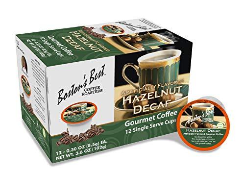 Boston's Best Coffee Roasters - Hazelnut Decaf - Medium Roast 100% Arabica Coffee - 12 Single Serve Keurig-Compatible K-Cup Pods