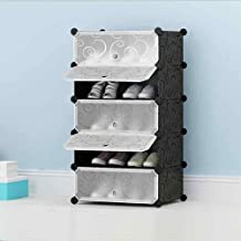 Styleys Plastic Shoe Rack with Cover for Home/Office Cube Organizer Wardrobe Black (5 Cube Black1)