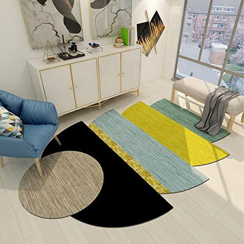 CMwardrobe Design Alfombra De Salón Moderna Dormitorio Comedor Diseño de Arte Gráficos Irregulares Verde Negro Amarillo Que Viven De La Alfombra De Arrastre del Bebé Alfombra,Tamaños,1.2×1.7M