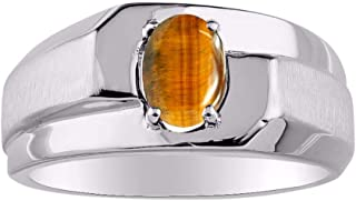 RYLOS 14K White Gold Ring Classic Solitaire Oval Shape Gemstone in Designer Band - 7X5MM Color Stone