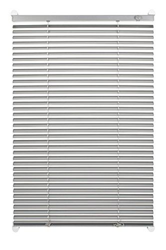 GARDINIA Alu-Jalousie zum Klemmen, Sicht-, Licht- und Blendschutz, Alle Montage-Teile inklusive, Aluminium-Jalousie mit 2 Bedienschienen, Silber, 70 x 130 cm (BxH)