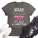 Beopjesk Womens Funny Flamingo T-Shirt Summer Short Sleeve Round Neck Graphic Tees Tops (XL, Grey)