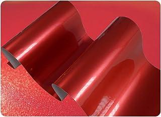 JNK NETWORKS Gloss Chrome Metallic Car Vinyl Wrap Sticker Sheet Film Air Release (Red, A4)