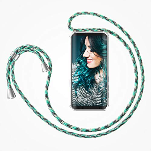 ZhinkArts Handykette kompatibel mit Samsung Galaxy S8 - Smartphone Necklace Hülle mit Band - Handyhülle Hülle mit Kette zum umhängen in Mint Camouflage