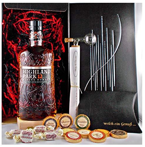 Geschenk Highland Park 12 Jahre Single Malt Whisky + Glaskugelportionierer + Edelschokolade + Fudge