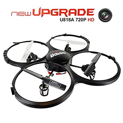 Drone with 720P HD Camera, UDI U818 A cuadricópteros UFO RC with Headless Mode, 360 ° Rotation and LED Light – For Beginners Easy Control (4 GB Memory Card Included)