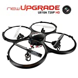 Drone avec Caméra HD de 720P UDI U818A quadricoptère UFO RC avec mode sans tête rotation de 360° et lumière LEDContrôle facile pour débutant Carte mémoire de 4Go
