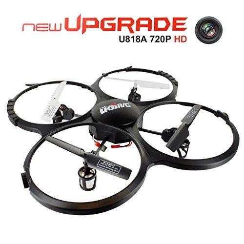 UDI U818A UFO RC Quadrocopter mit Headless-Modus, Drohne mit 720p-HD-Kamera, 360-Grad-Rotation und LED-Licht, einfache Steuerung für Anfänger (Speicherkarte mit 4 GB im Lieferumfang enthalten)