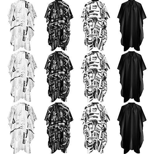 12 Piezas Capas Impermeables de Corte de Pelo de Peluquería Vestido de Corte de Peluquería con Cierre a Presión o Gancho y Bucle para Peluquería de Adultos (Impresión, Blanco y Negro)