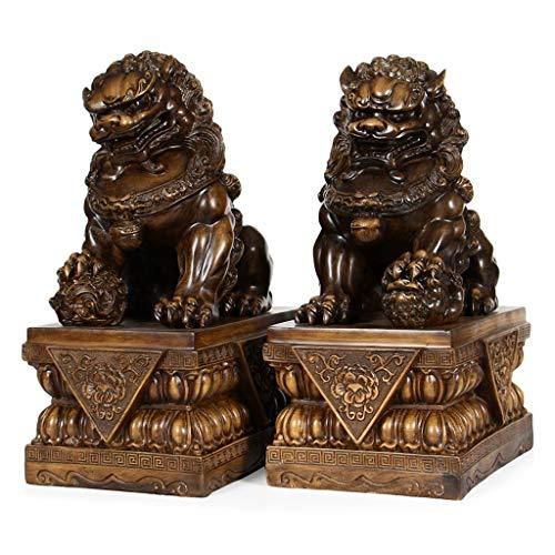 Figurillas Decorativas Un par de estatuas Fu perros de Foo del león del guarda mejor estreno de una casa de felicitación regalo for alejar el mal de Energía Feng Shui Decoración Feng Shui Decoración