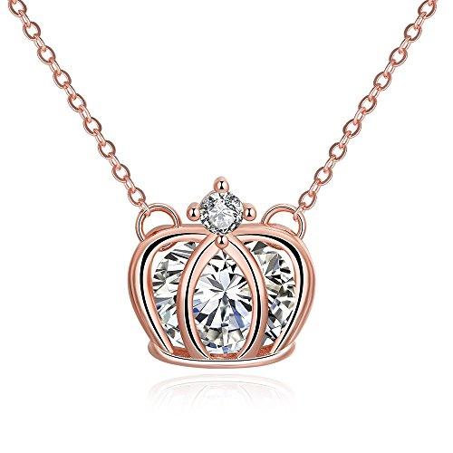 Highdas Arbeiten Sie Charme-Schmucksache-s¨¹?e Romanze Crown Zircon Rose Gold Damen Halskette