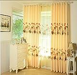 1 set Impresión de lino de lino de poliester Inelástico apagón Ventanas Cortina gruesa vertical , hook , W3*H2.8m