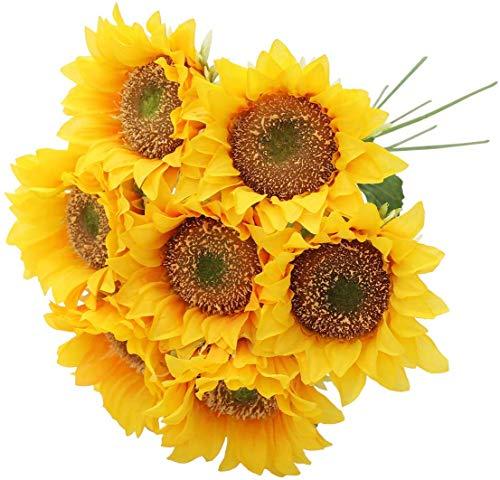 Hawesome 7 Fiori Artificiali Girasole Giallo Composizione Floreale Singolo Fiore Falso Fiori Bouquet Decorazione di Nozze per la Decorazione Domestica Matrimonio Decoro