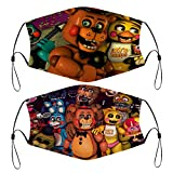 Five Nights at Freddy's 2 PCS Face Cover Kids Reusable Bandanas Washable Outdoor Covers