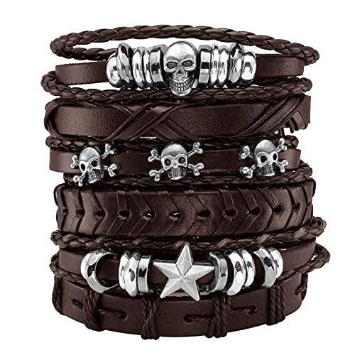 MILAKOO 6 pulseras de cuero trenzado negro para hombres y mujeres con calavera. Pulsera ajustable, Cuero,