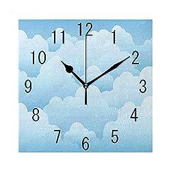 MTDKX Square Wall Clock Battery Operated Quartz Analog Quiet Desk 8 Inch Clock, Digital Design Consecutive Segments Lamellar Look of Cumulus Cloud Pattern