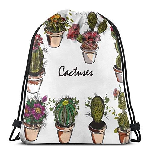 Lsjuee Conjunto de Cactus Dibujados a Mano para diseño Mochila con cordón Bolsas de Regalo Bolsas de cincha