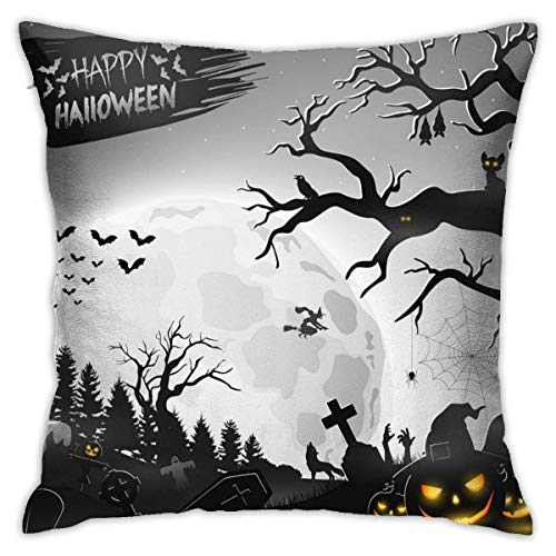 Fanqig Halloween Night Background with Pumpkins Pillowcase Cute Square Pillow Case, Not Include Pillow Core, Suitable for Square Pillow Core 45x45cm