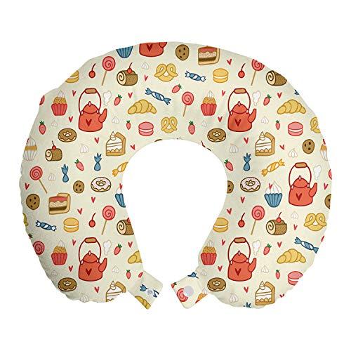 ABAKUHAUS Tee-Party Reisekissen Nackenstütze, Teekanne Kuchen Treat Süßigkeiten, Schaumstoff Reiseartikel für Flugzeug und Auto, 30x30 cm, Eischale Dunkelt Coral